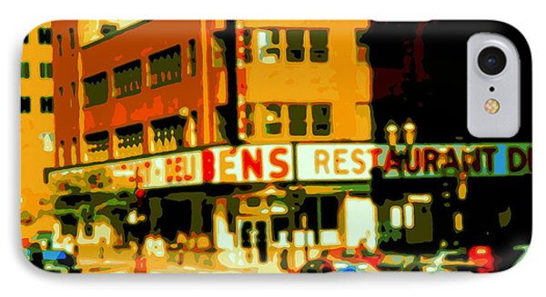 Ben's Restaurant Vintage Montreal Landmarks Nostagic Memories And Scenes Of A By Gone Era Phone Case by Carole Spandau