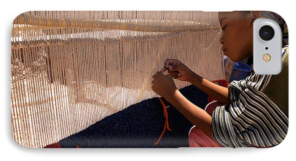 Berber Girl Working On Traditional Berber Rug Ait Benhaddou Southern Morocco Phone Case by Ralph A  Ledergerber-Photography