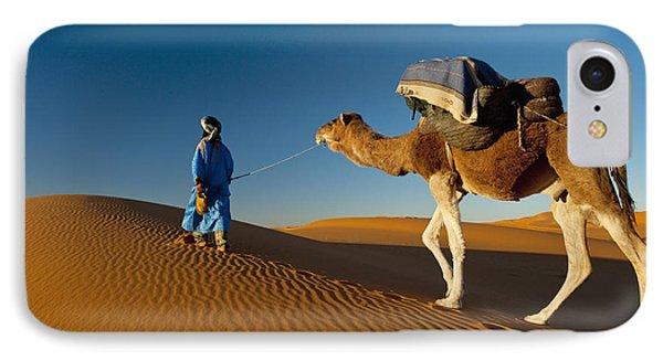 Berber Leading Camel Across Sand Dune IPhone Case