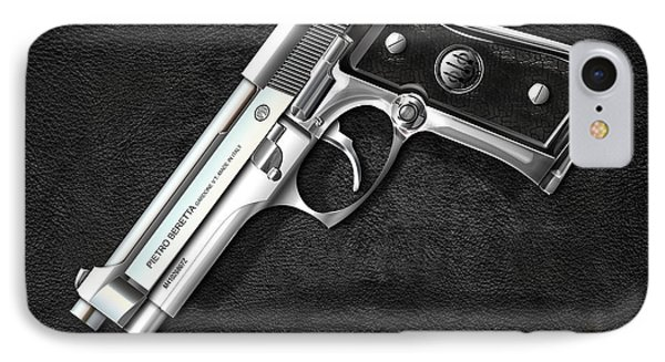 Beretta 92fs Inox Over Black Leather IPhone Case