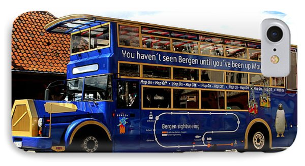 Bergens Blue Bus For Tourists IPhone Case by Laurel Talabere