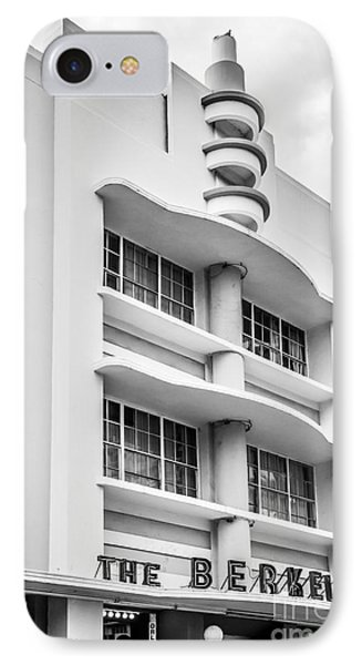 Berkeley Shores Hotel - South Beach - Miami - Florida - Black And White IPhone Case by Ian Monk