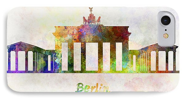 Berlin Landmark Brandenburg Gate In Watercolor Phone Case by Pablo Romero