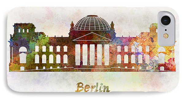 Berlin Landmark The Reichstag In Watercolor Phone Case by Pablo Romero