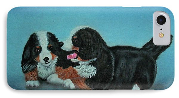 Bernese Mountain Puppies IPhone Case by Thomas J Herring