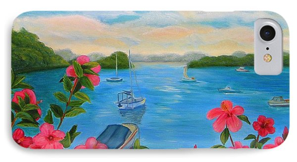 Bermuda Hibiscus - Bermuda Seascape With Boats And Hibiscus IPhone Case by Shelia Kempf