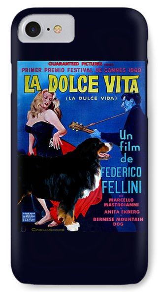 Bernese Mountain Dog Art Canvas Print - La Dolce Vita Movie Poster IPhone Case