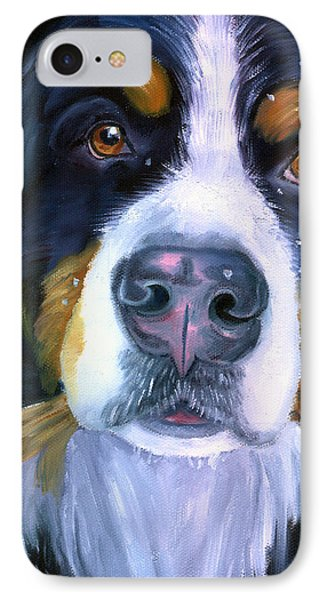 Bernese Mountain Dog In Snowfall IPhone Case by Lyn Cook