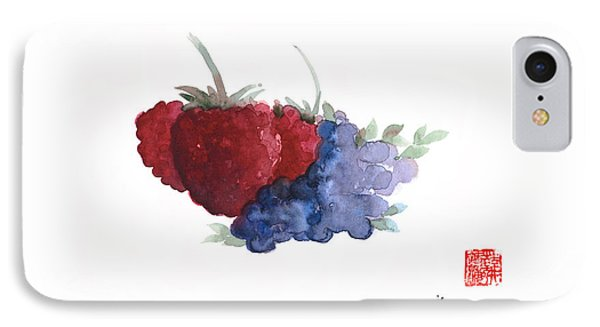 Berries Red Pink Black Blue Fruit Blueberry Blueberries Raspberry Raspberries Fruits Watercolors  IPhone 7 Case