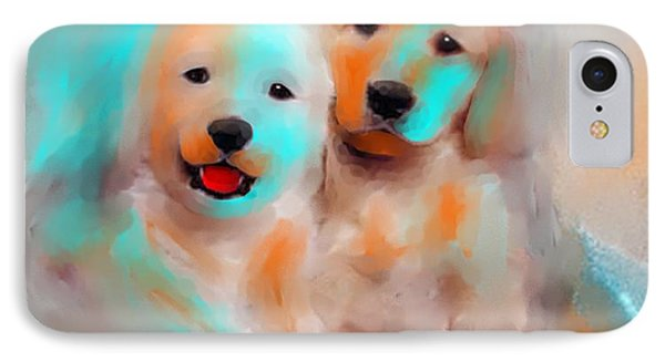 IPhone Case featuring the painting Best Friends by Larry Cirigliano