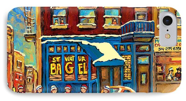 Best Sellers Original Montreal Paintings For Sale Hockey Game At St.viateur Bagel Carole Spandau IPhone Case by Carole Spandau