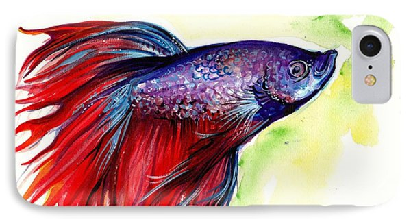 Beta Splendens Watercolor Fish IPhone Case by Tiberiu Soos