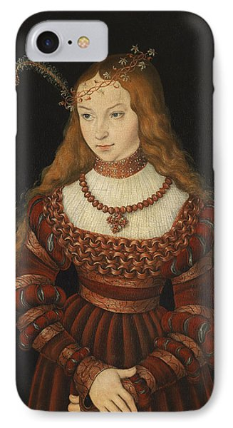 Betrothal Portrait Of Sybille Of Cleves, 1526-7 Oil On Panel IPhone Case by Lucas, the Elder Cranach