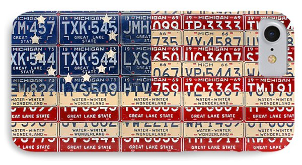 Betsy Ross American Flag Michigan License Plate Recycled Art On Red Board IPhone Case