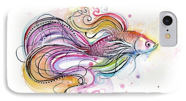 Betta Fish Watercolor IPhone Case by Olga Shvartsur