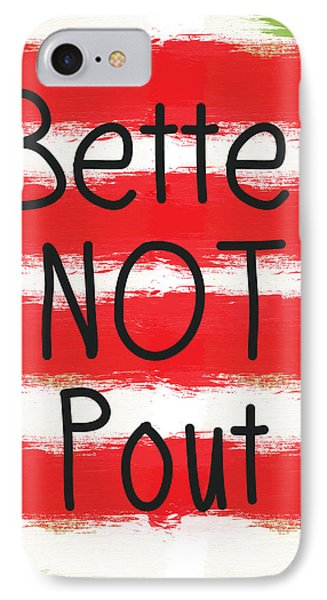 Better Not Pout - Striped Holiday Card IPhone Case by Linda Woods