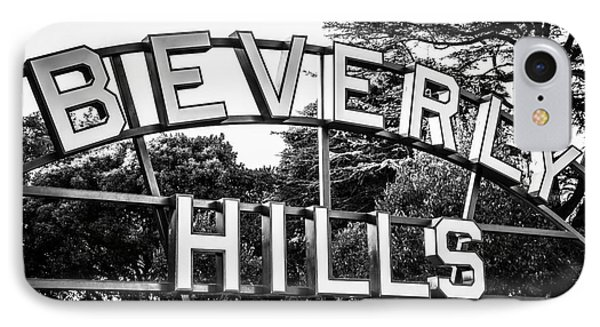 Beverly Hills iPhone 7 Case - Beverly Hills Sign In Black And White by Paul Velgos
