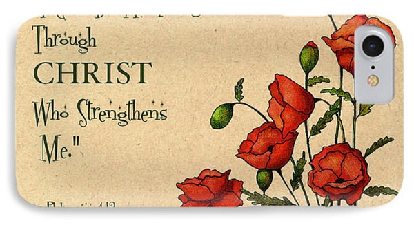 Bible Verse With Poppies Phone Case by Joyce Geleynse