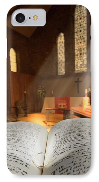 Bible With A Ring In Church Sanctuary IPhone Case by John Short