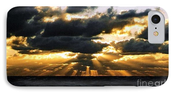 Crepuscular Biblical Rays At Dusk In The Gulf Of Mexico IPhone Case by Michael Hoard