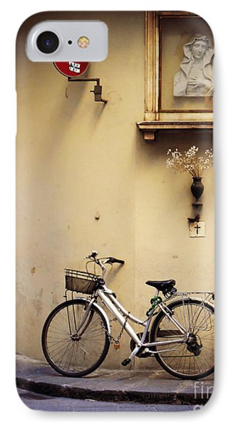 Bicycle And Madonna IPhone Case by Valerie Reeves
