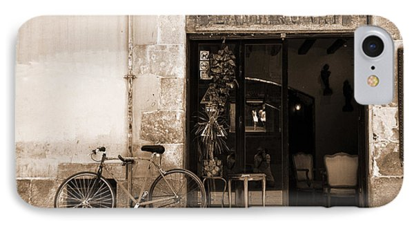 Bicycle And Reflections At L'antiquari Bar  Phone Case by RicardMN Photography