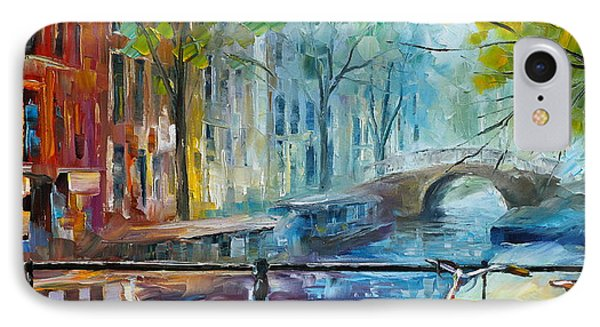 Bicycle In Amsterdam IPhone Case by Leonid Afremov