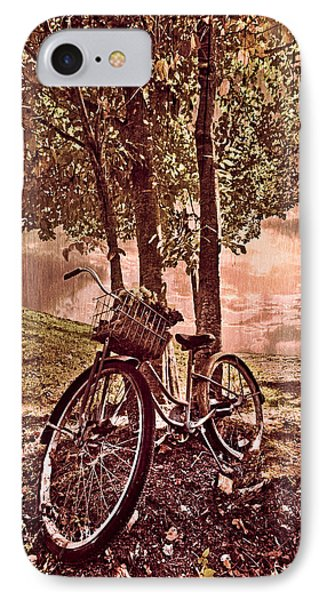 Bicycle In The Park IPhone Case by Debra and Dave Vanderlaan