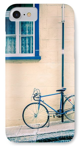Bicycle On The Streets Of Old Quebec City Phone Case by Edward Fielding