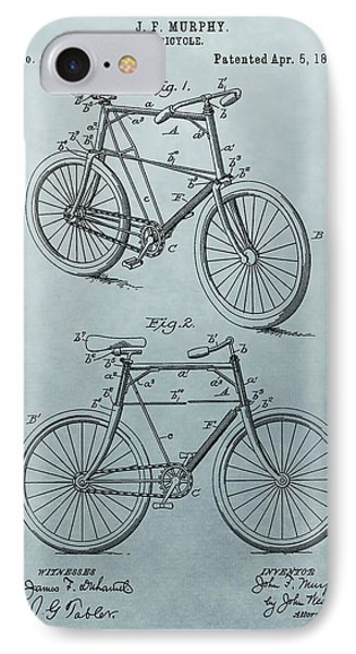 Bicycle Patent Blue IPhone Case by Dan Sproul