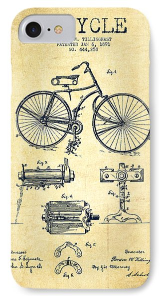 Bicycle Patent Drawing From 1891 - Vintage IPhone 7 Case by Aged Pixel