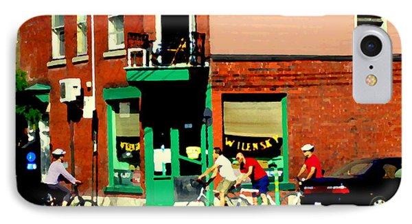 Bicycle Path At Wilenskys Diner Rue Fairmount And Clark Montreal Cafe Street Scene Carole Spandau Phone Case by Carole Spandau