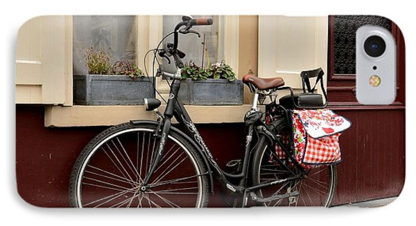 Bicycle With Baby Seat At Doorway Bruges Belgium IPhone Case
