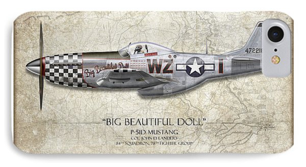 Big Beautiful Doll P-51d Mustang - Map Background IPhone Case by Craig Tinder