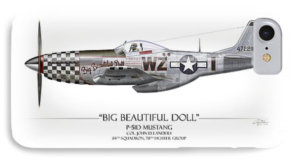 Big Beautiful Doll P-51d Mustang - White Background IPhone Case