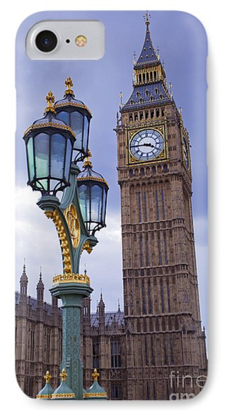 Big Ben And Lampost IPhone Case by Simon Kayne
