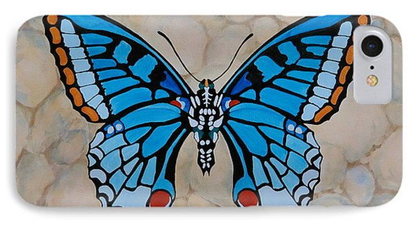 IPhone Case featuring the painting Big Blue Butterfly by Jo Appleby