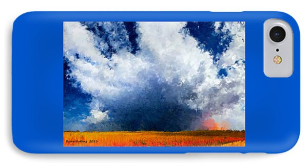 IPhone Case featuring the painting Big Cloud In A Field by Bruce Nutting
