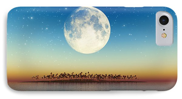 Big Full Moon Behind Island Phone Case by Aleksey Tugolukov