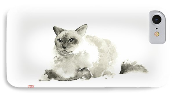 Big Grey Gray Fat Persian Cat Long Hair Fur Cats Pictures Watercolor Painting IPhone Case by Johana Szmerdt