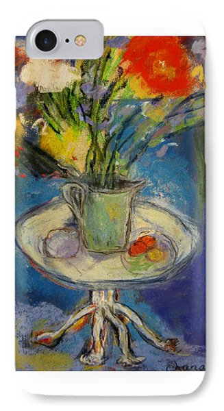 Big Red Flowers In A Pale Green Vase  Phone Case by Tolere