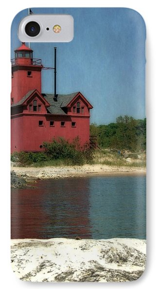 Big Red Holland Michigan Lighthouse IPhone Case by Michelle Calkins