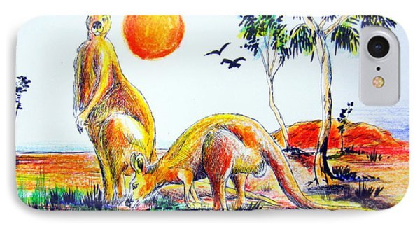 IPhone Case featuring the painting Big Reds Kangas by Roberto Gagliardi