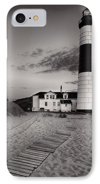 Big Sable Point Lighthouse In Black And White IPhone Case by Sebastian Musial