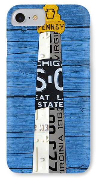 Big Sable Point Lighthouse Michigan Great Lakes License Plate Art IPhone Case by Design Turnpike
