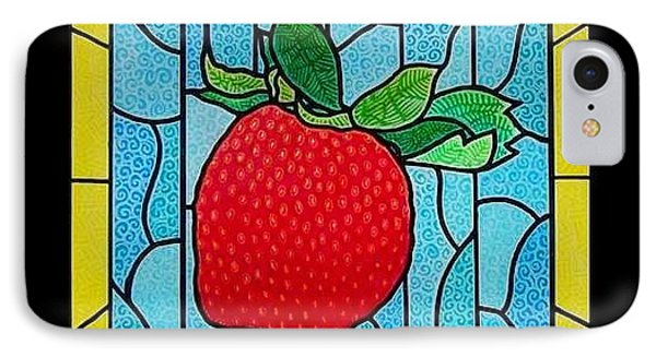 Big Stained Glass Strawberry Phone Case by Jim Harris