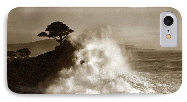 Big Wave Hitting The Lone Cypress Tree Pebble Beach California 1916 IPhone Case by California Views Mr Pat Hathaway Archives