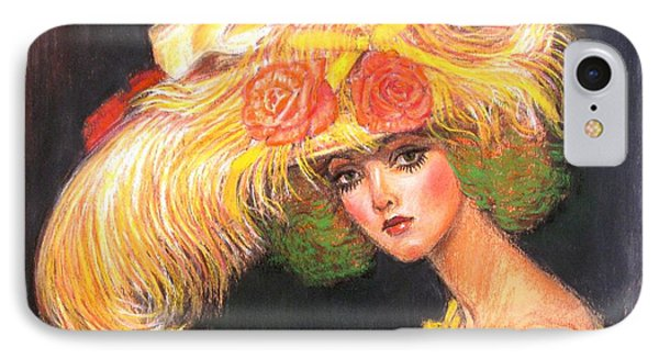 IPhone Case featuring the painting Big Yellow Fashion Hat by Sue Halstenberg