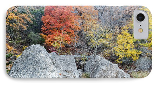 Bigtooth Maple And Rocks Fall Foliage Lost Maples Texas Hill Country IPhone Case