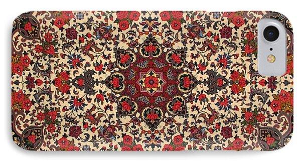 Bijar Red And Cream Silk Carpet Persian Art Poster Phone Case by Persian Art